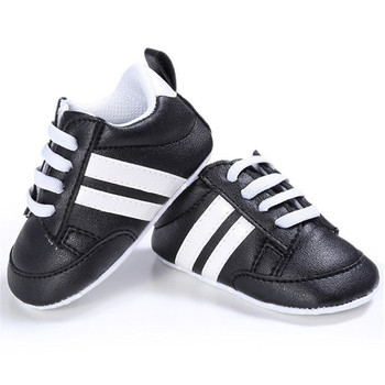 2020 Baby Shoes Newborn Boys Girls Two Striped First Walkers Kids Toddlers Lace Up PU Leather Soft Soles Sneakers 0-18 Months - 06, 7-12 Months