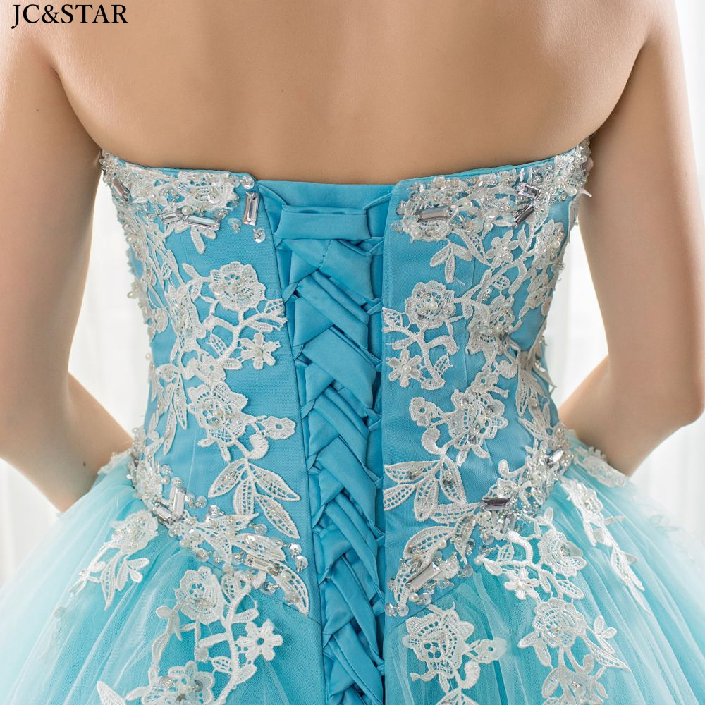 Купить с кэшбэком Turquoise blue prom dress long new tulle applique OFF shoulder Backless A Line abiti da ballo Sweep Train elegant evening gown
