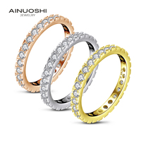 AINUOSHI 925 Sterling Silver Full Eternity Band Rings Women Engagement Simulated Diamond Wedding Silver 3 Pieces Bands Jewelry