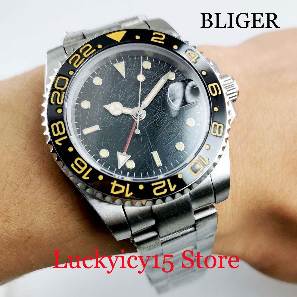 Automatic Men Wristwatch BLIGER New Sapphire Glass Nologo Dial Ceramic Bezel Mental Strap GMT Date Function
