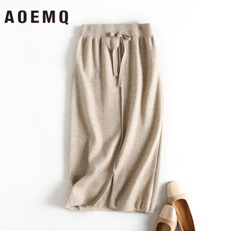 AOEMQ Noble Skirts Cotton Warm 3 Colors Solid Christmas Skirts Mermaid Fairy Wave Draped Bow Waist Skirts Women Clothing