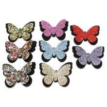 20 unids/lote brillo mariposa de lentejuelas acolchado con parches apliques para hecho a mano DIY niños ropa sombreros Decoración Accesorios de tela