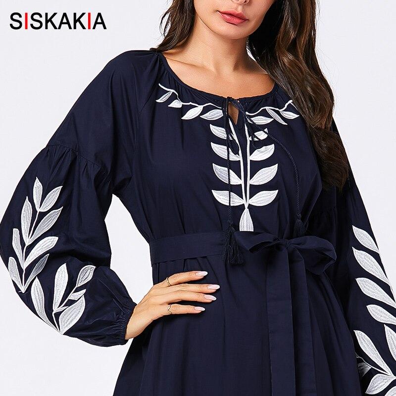 Siskakia mode grande taille broderie longue robe de qualité confortable pleine coton à manches longues robes femmes arabes rue porte - 4