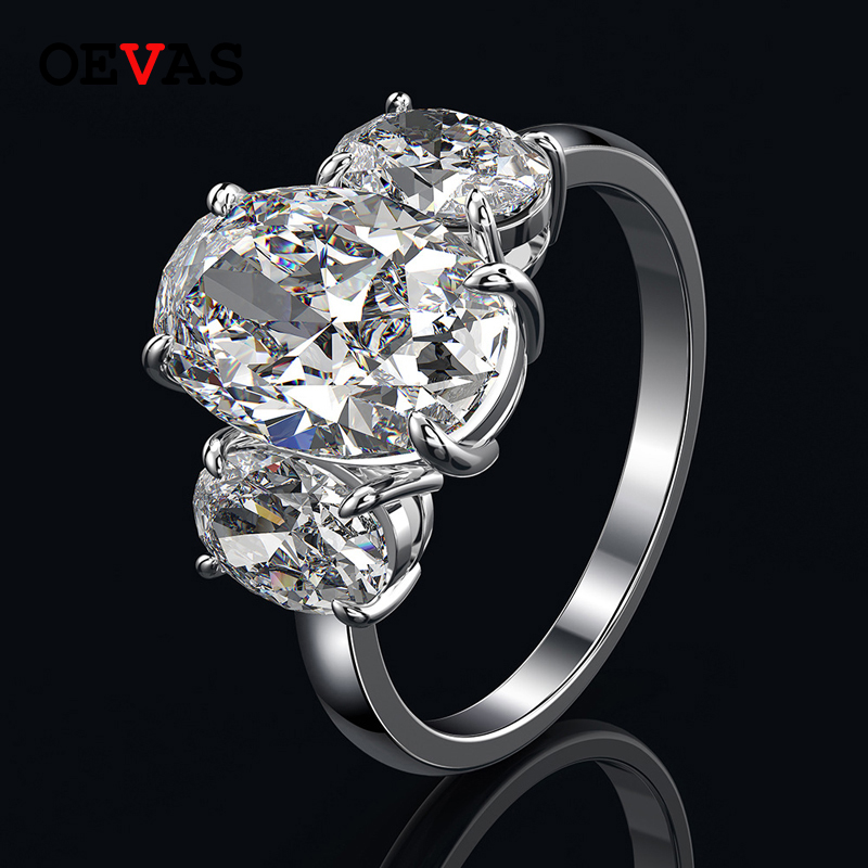 OEVAS Created Moissanite Gemstone Diamonds Rings For Women Real 925 Sterling Silver Wedding Engagement Party Fine Jewelry Gift