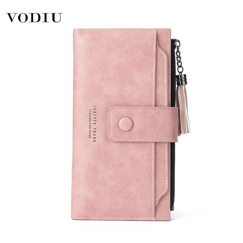 Borla couro carteira feminina zíper bolsa de telefone longo multi-cartão moeda bolsas senhoras moda fivela de embreagem saco de dinheiro carteiras