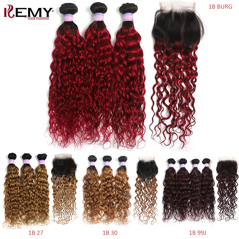 1B/99J Burgundy Water Wave Human Hair Bundles With Lace Closure 4x4 Brazilian Ombre Red Hair Weave Bundles Non-Remy KEMY HAIR