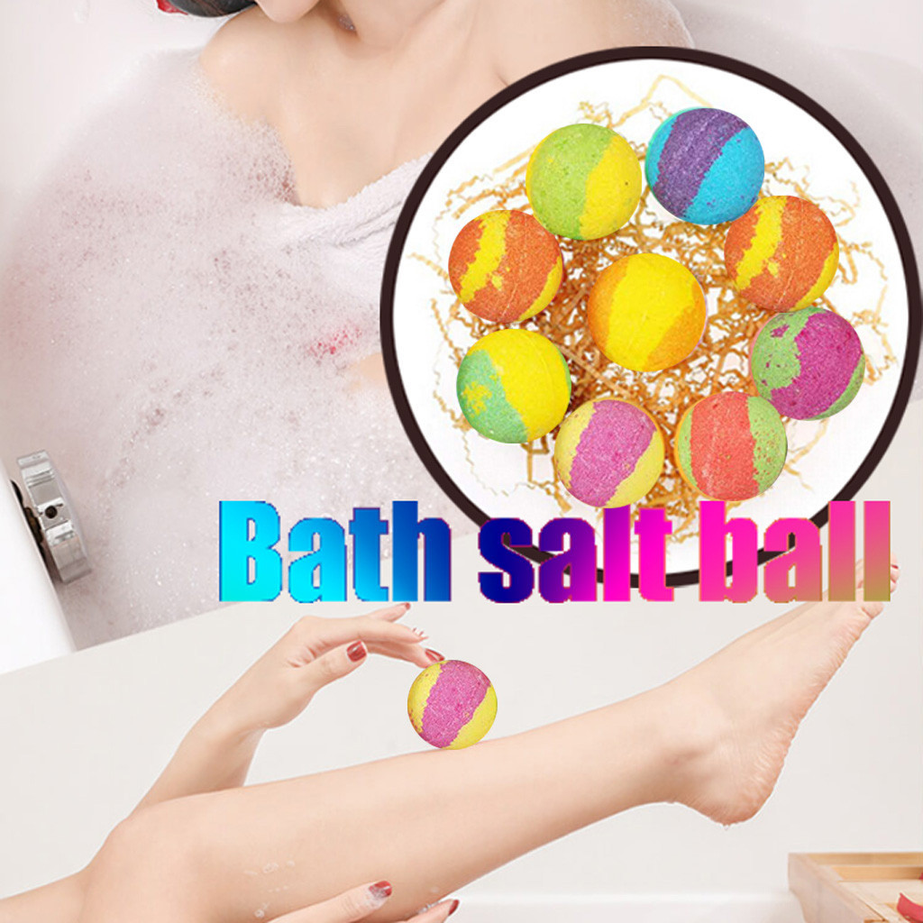 12PCS Bath Salt Ball Body Skin Whitening Ease Relax Stress Relief Natural Bubble Shower Bombs Ball Skin Care Tools