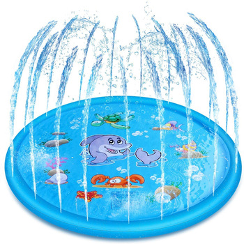 170cm Kids Inflatable Water spray pad Playing Sprinkler Mat Round Water Splash Play Pool Yard Outdoor Fun PVC Swimming Pools