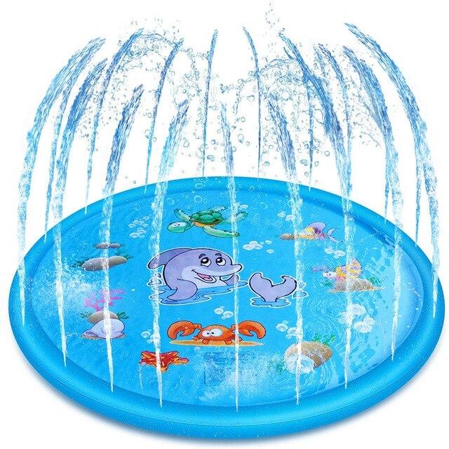 170cm Kids Inflatable Water spray pad Playing Sprinkler Mat Round Water Splash Play Pool Yard Outdoor Fun PVC Swimming Pools