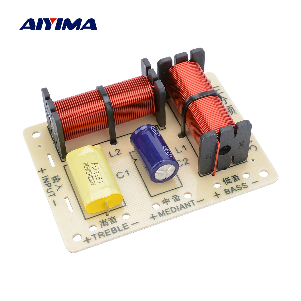 AIYIMA Professional Speakers Frequency Divider 120W Treble Midrange Bass 3 Way Crossover Audio Speaker Filter DIY Home Theater