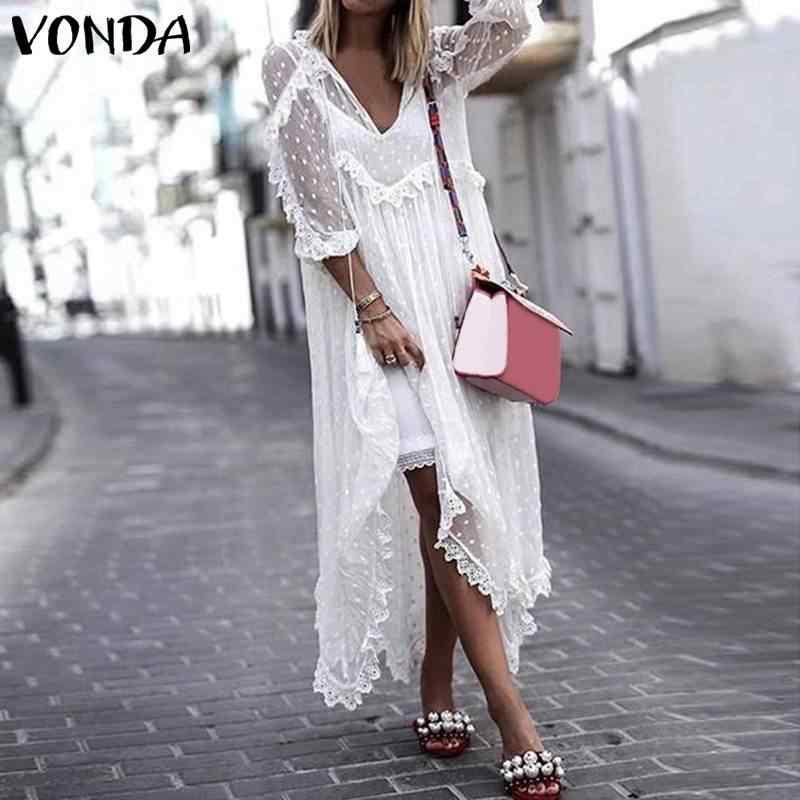 VONDA 2020 Women White Lace Dress Sexy V-Neck Dot Hollow Asymmetrical Hem Dress Sundress Beach Cardigan Plus Size Vestidos