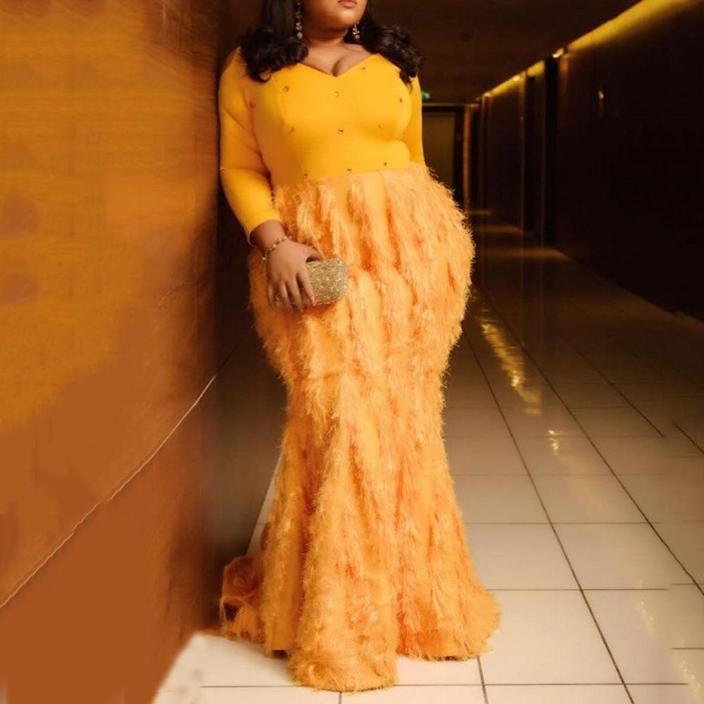 Plus Size Orange Tassel Long Party Dress