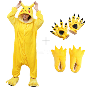 Kigurumi Unicorn Pajama Adult Animal Pikachu Onesie Women Men Couple 2019 Winter Pajamas Suit Stitch Sleepwear Flannel Pijamas(China)