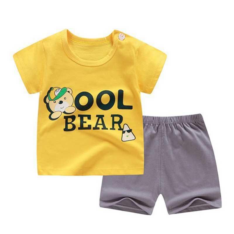 Baby Kids Boy Girls Summer Cartoon Print T-shirt Tops+Shorts Casual Outfits Sets