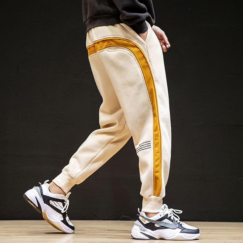 Autumn And Winter M-6xl Japanese Men's Large Splicing Pure Cotton Fleece Harlem Sweatpants