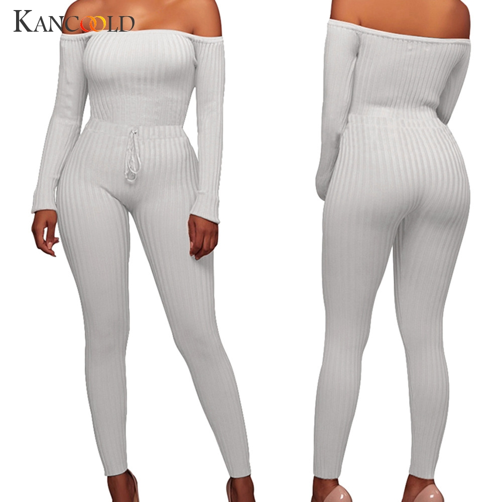 KANCOOLD  Print Sheer Mesh Jumpsuit Women Sexy Off Shoulder Long Flare Sleeve Skinny Romper Night Club Overall Outfit