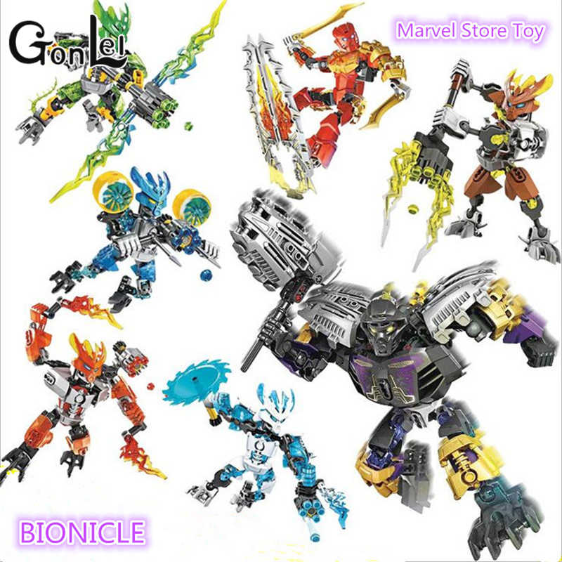 GonLeI BIONICLE Series XSZ 706 Jungle Rock Water Earth Ice Fire Protector Action Building Block ใช้งานร่วมกับ Legoinglys