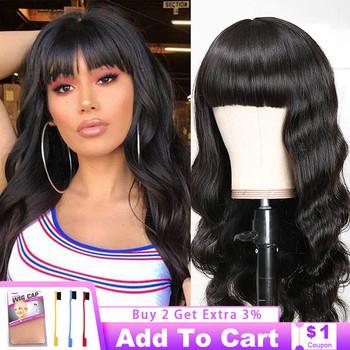 Pełna maszyna wykonana peruka ciało fala peruki ludzkie włosy Remy włosy długie włosy naturalny kolor peruka z Bangs dla czarnych kobiet brazylijski włosy tanie i dobre opinie VRVOGUE Remy Ludzki Włos CN (pochodzenie) Średnia wielkość 150 Density Brazilian Hair Darker Color Only Natural Color