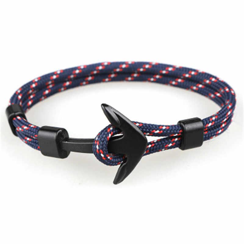 2019 nowych moda czarny kolor kotwica bransoletki mężczyźni urok Survival Rope Chain bransoletka paracord męska dopasowana bransoletka Metal Sport haki