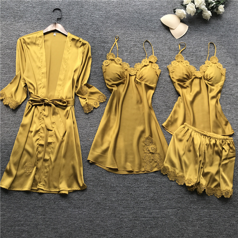 Daeyard Pajamas For Women Floral Appliques 4Pcs Silk Pyjamas Set With Shorts Spring New Sexy Lace Pjs Sleepwear Home Clothes