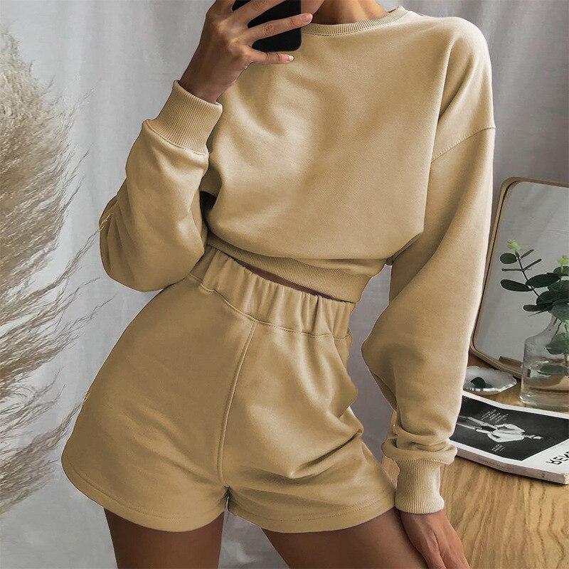 Nieuwe Vrouwen Hoodies Sweatshirt Crop Top Lounge Slijtage Pak Dames 2 Stuks Trainingspak Set Shorts Broek Broekpak  - AliExpress