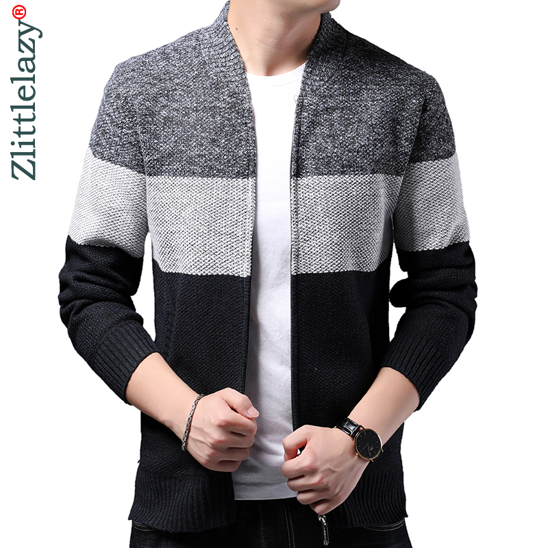 2019 Striped Thick Warm Winter Striped Knitted Cardigan Sweater Men Wear Jersey Mens Knit Mens Sweaters Coat Male Fashions 9314