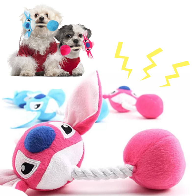 Plush Cartoon Cute Puppy Dog Rope Knot Toy Pet Dog Chew Squeak Toys for Small Dogs Teeth Grinding Pet Products Dog Accessories