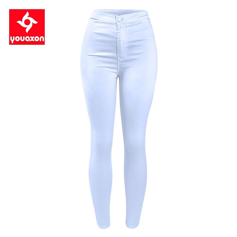 1888 Youaxon Women`s High Waist White Basic Casual Fashion Stretch Skinny Denim Jean Pants Trousers Jeans For Women 1