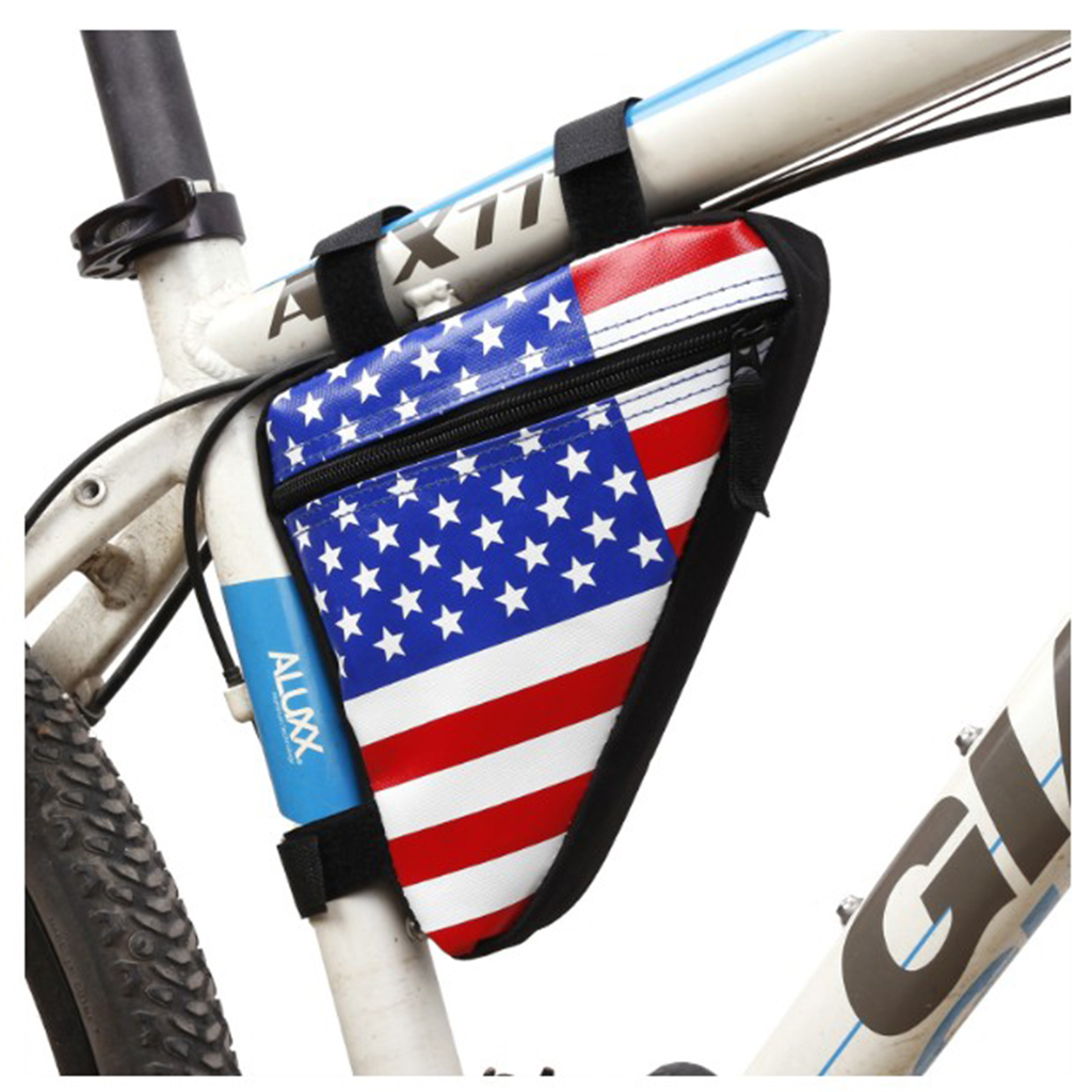 Cycling Frame Bag Waterproof Top Tube Triangle Pouch American Flag Seat Pack
