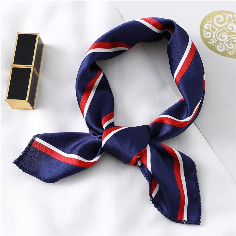 2020 Design Silk Square Scarf for Women Small Neck Scarfs Fashion Print Foulard Hairband Satin Neck Head Kerchief(China)