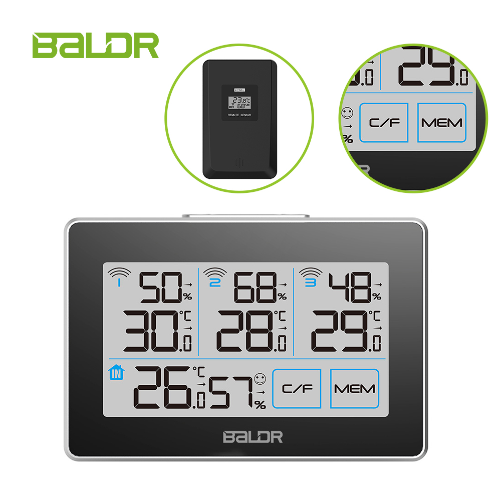 Baldr Touch Indoor Outdoor Weather Station + 3 Forecast Sensor Thermometer Hygrometer Meter Calendar 3CH Backlight