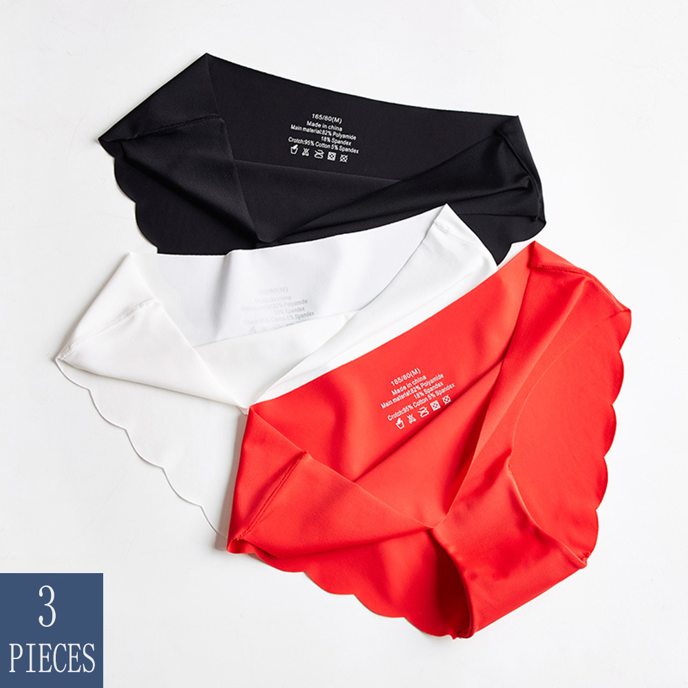 3pcs/Lot Seamless Underwear Women Sexy Lingerie Ice Silk Briefs Ladies Panties Woman Panty Set Solid Intimates Cotton Underpants