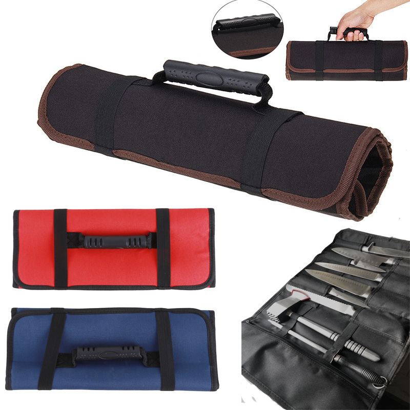 3 Colors Choice Chef Knife Bag Roll Bag Carry Case Bag Kitchen Cooking Portable Durable Storage Pockets 58*35cm