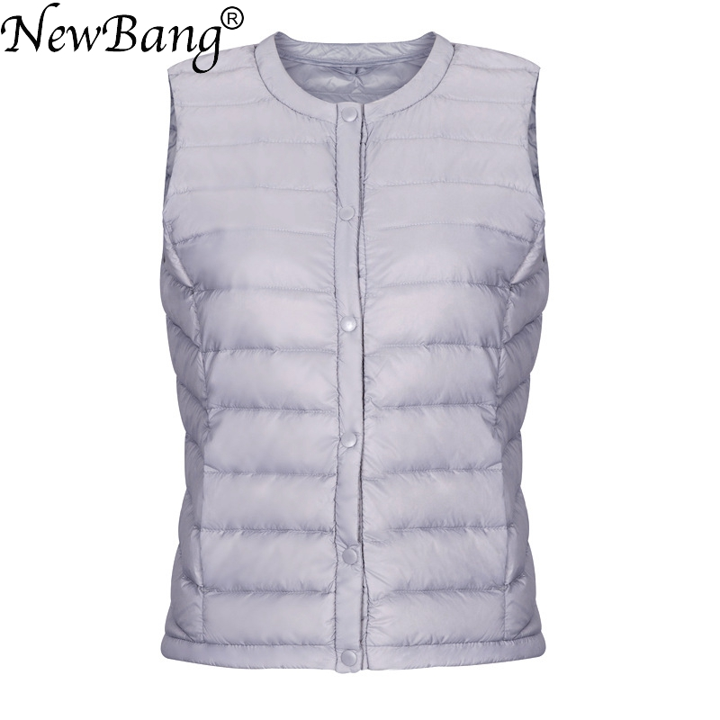 NewBang Brand Ultra Light Down Vest Women Portable Single Breasted Lightweight  Sleeveless Winter Warm Round Collar Waistcoat