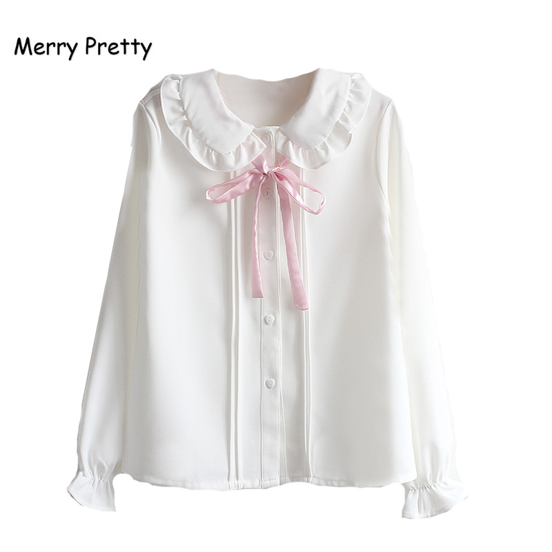 Merry Pretty Women Blouses Girls Autumn Long Sleeve Peter Pan Collar Pink Bowknot White Chiffon Blouse Shirt School Uniform Top