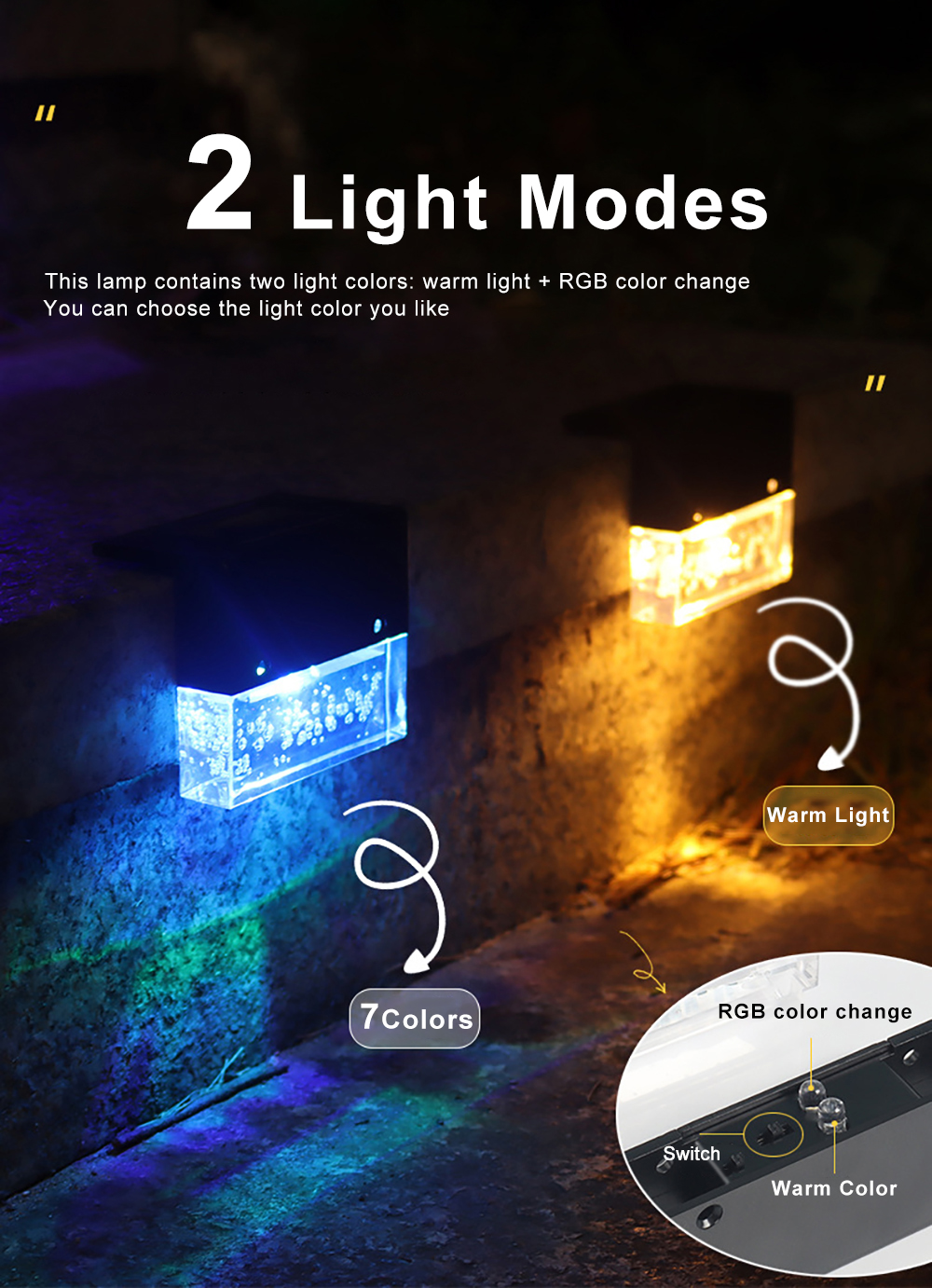 LED Solar Lamp Garden Lights Outdoor Waterproof Solar Sunlight RGB Light Gradient Garden Decor Stair Fence Lamp for Patio Yard