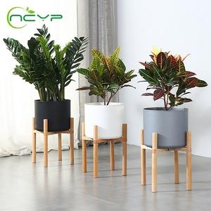 NCYP поддоны для плантаторов, прочные поддоны из бука, полка для цветочных горшков, стоячий держатель для дерева бонсай, домашний сад, комнатн...