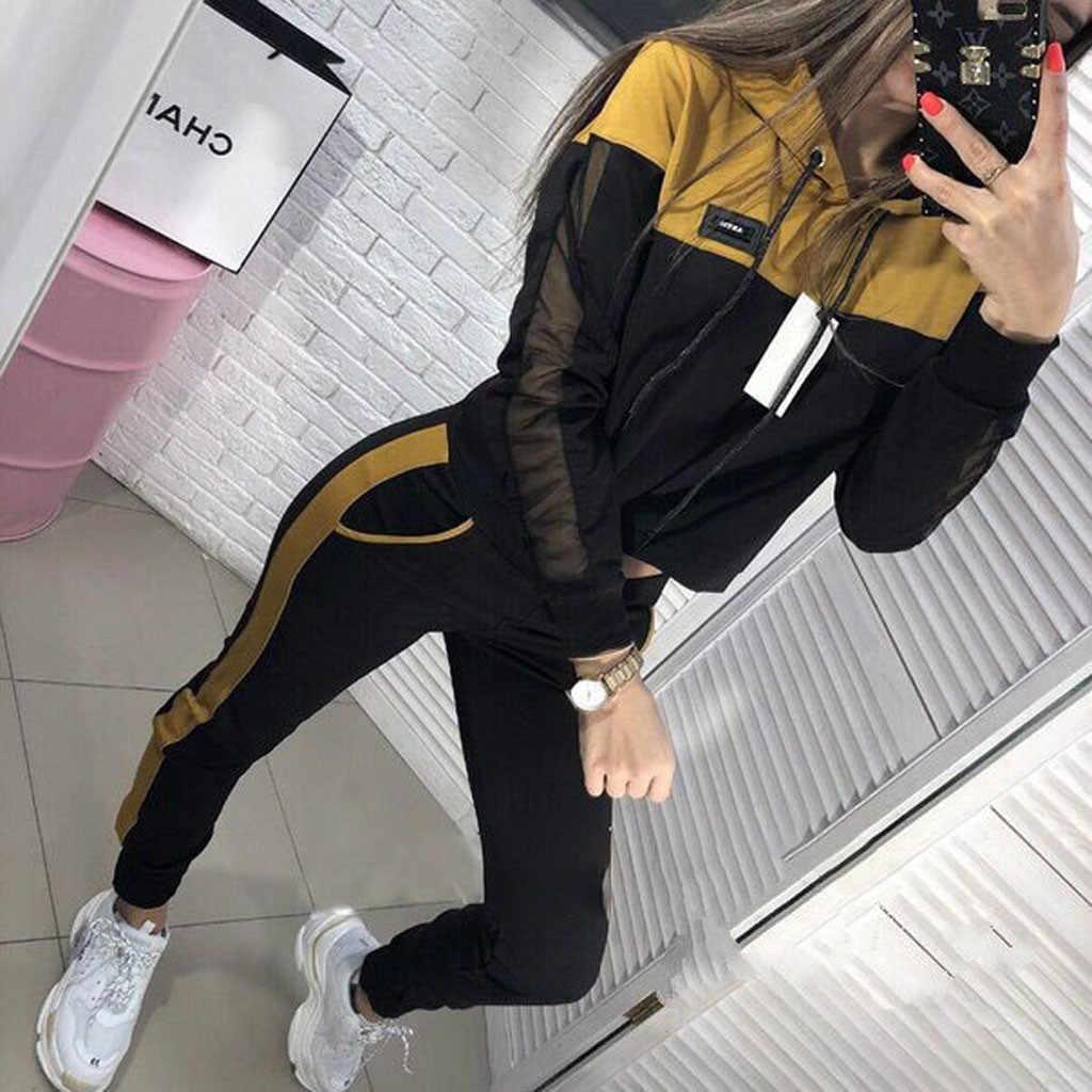 38 # Vrouwen Effen Kleur Mode Running Pak Vrouwen Effen Kleur Hooded Sweater En Broek Trainingspak Sport Pak