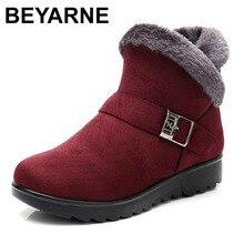 BEYARNEWinter plush short fur warm snow boots platform plus size ankle boots Women zipper suede shoes for women freeE999