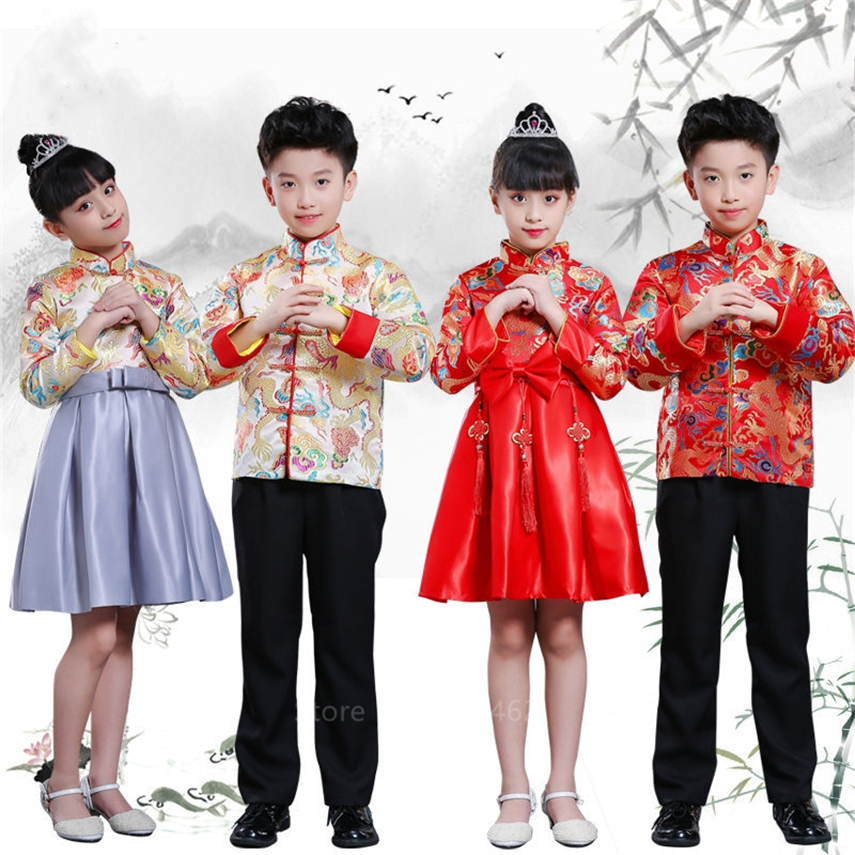 Boys Girls Chinese New Year Clothes Traditional Dragon Embroidery Tang Suit Kids Stage Party Festival Oriental Hanfu