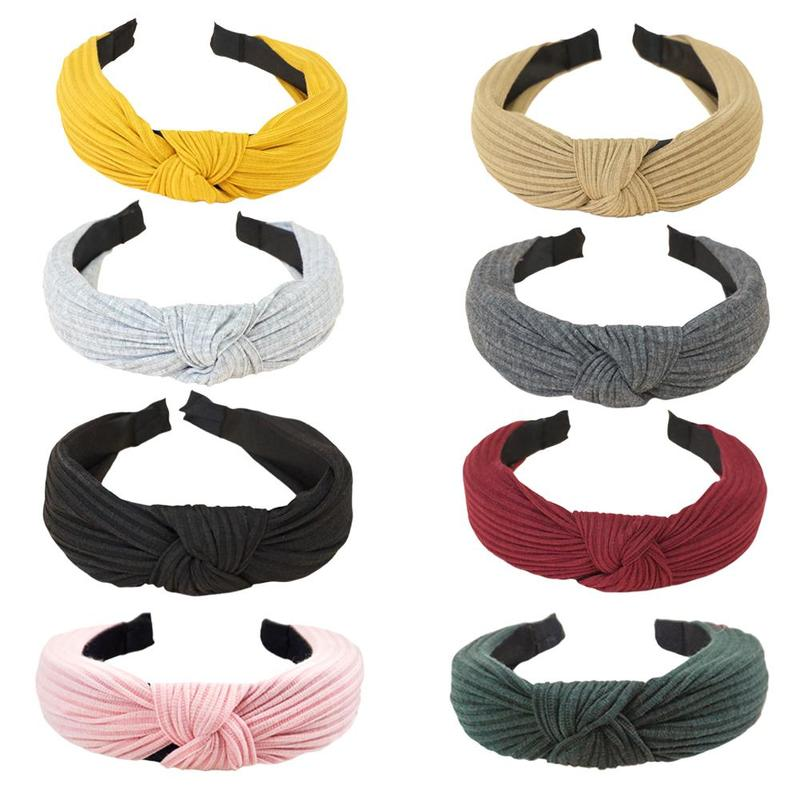 Creative New Knitted Headband Bow Knot Cross Tie Korean Version Of The Ladies Fabric Cross Knotted Wide-brimmed Hair Accessories