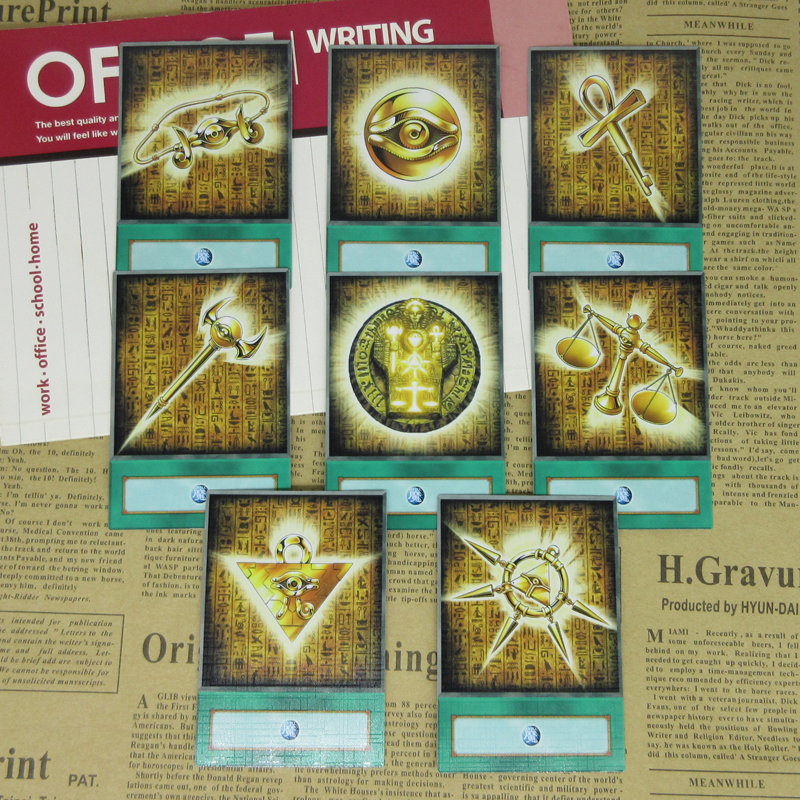 8pcs/set Yugioh Millennium Items Anime Style Half-frosted Cards Ancient Egyptian Symbol Seven Treasures Puzzle Custom Spell Card image