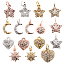 Charm Charms for Jewelry Making Supplies Gold Heart Sun Star Diy Earring Bracelet Necklace Metal Copper CZ Zircon Accessories
