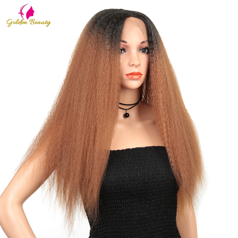 Golden Beauty 28inch Long Afro Kinky straight Lace Front Wigs  Synthetic Hair Yaki straight Wig Heat Resistant for Women