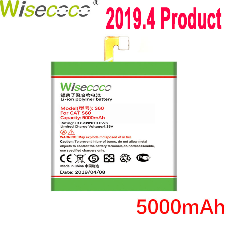 WISECOCO 5000mAh S60 Battery For CAT S60 Mobile Phone In Stock Latest Production High Quality Battery With Tracking Number