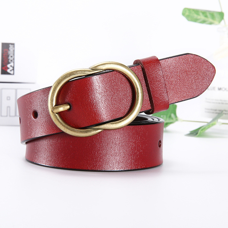 2019 New Women 39 s Belt with Golden Pin Buckles Retro Ladies Cowhide Belt Fashion Designer Belt Woman Thin Skinny Waist Strap in Men 39 s Belts from Apparel Accessories