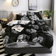 Nordic Bedding Set Leaf Printed Bed Linen Plaid Duvet Cover Set Single Double Queen King Quilt Covers Modern Sheet Bedclothes polka dot nordic bed linen set queen double single size children duvet cover set