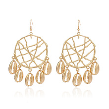 2019 Real Pendientes Earing Brinco Bohemia Dreamcatcher Metal Shell Circle Pendant Earrings Cross-border European Jewelry Ce566