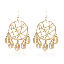 2019 real pendientes earing brinco bohemia dreamcatcher concha de metal círculo pingente brincos cross-border europeu jóias ce566(China)