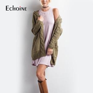Image 1 - 秋冬ファッション女性長袖ルーズニットカーディガンセーター2019ピンク黒女性ニット女性カーディガンプルファム